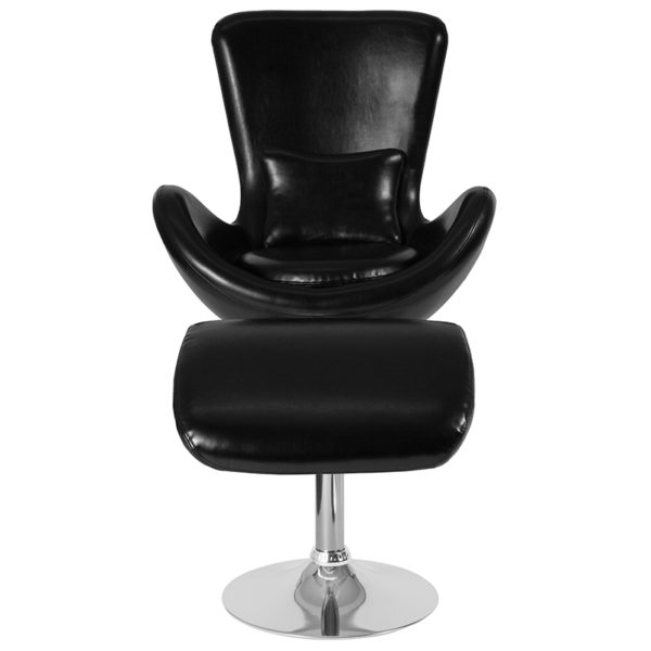 Chair and Ottoman Set Black Leather Reception Chair