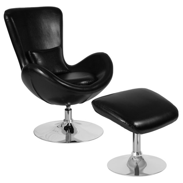 Wholesale Egg Series Black Leather Side Reception Chair with Ottoman