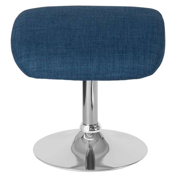 Contemporary Style Blue Fabric Ottoman