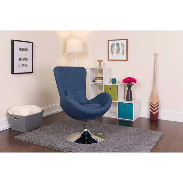 Lowest Price Egg Series Blue Fabric Side Reception Chair