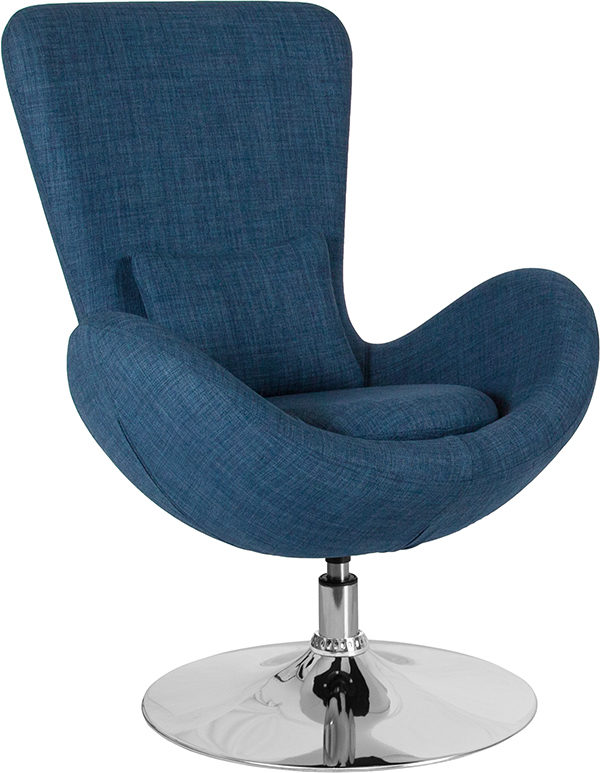 Wholesale Egg Series Blue Fabric Side Reception Chair