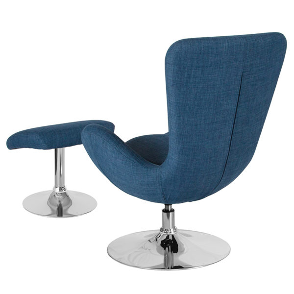 Lowest Price Egg Series Blue Fabric Side Reception Chair with Ottoman