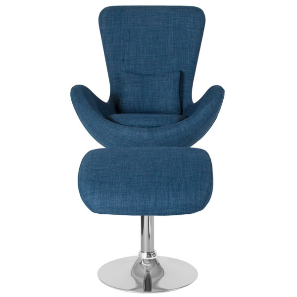 Chair and Ottoman Set Blue Fabric Reception Chair