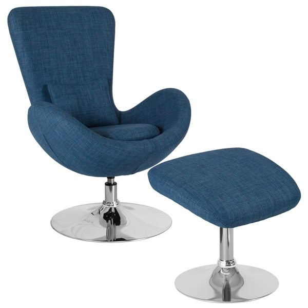 Wholesale Egg Series Blue Fabric Side Reception Chair with Ottoman
