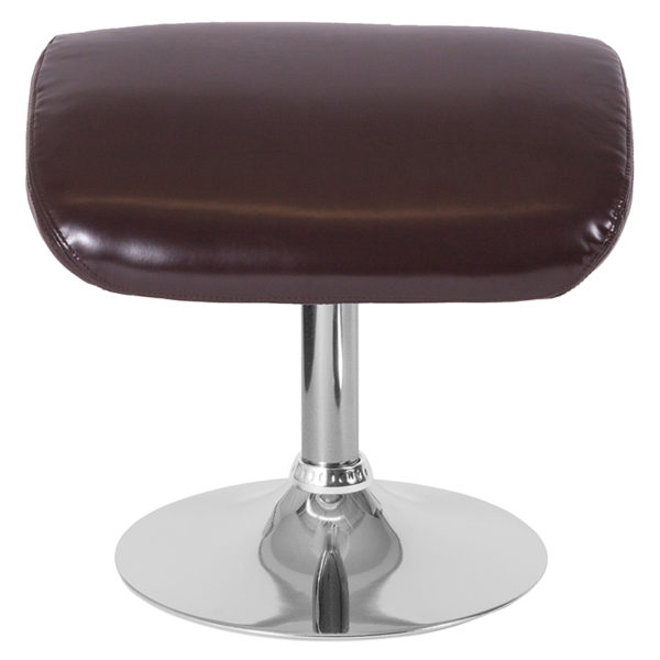 Contemporary Style Brown Leather Ottoman