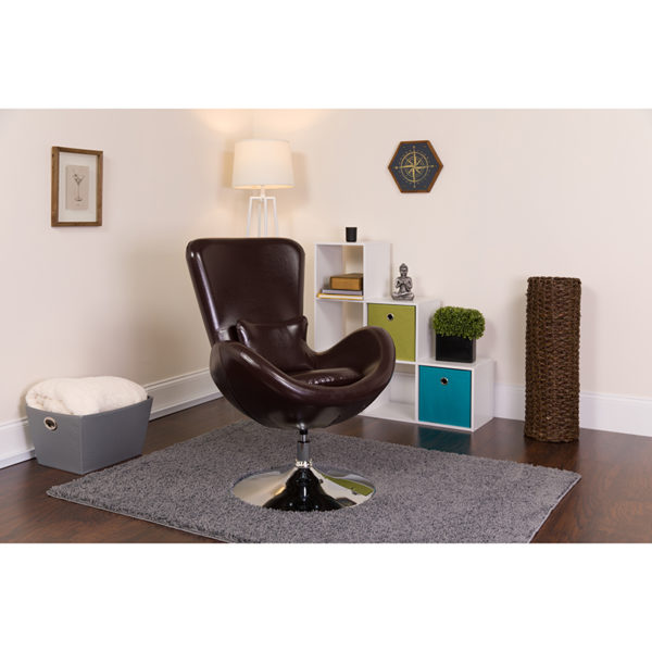 Lowest Price Egg Series Brown Leather Side Reception Chair