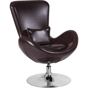 Wholesale Egg Series Brown Leather Side Reception Chair