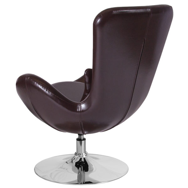 Lounge Chair Brown Leather Egg Series Chair