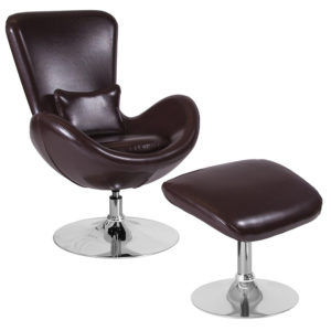 Wholesale Egg Series Brown Leather Side Reception Chair with Ottoman