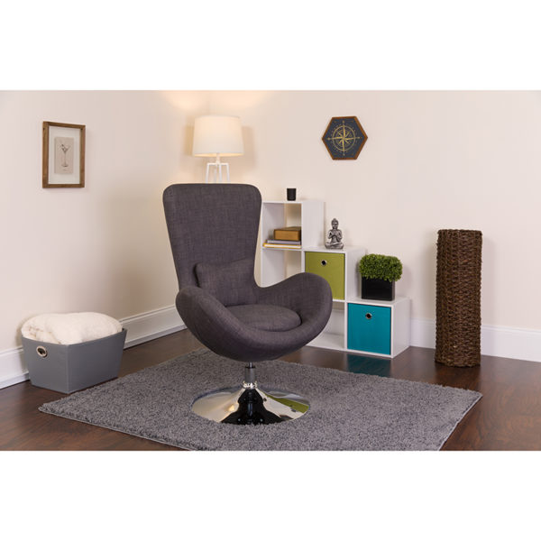 Lowest Price Egg Series Dark Gray Fabric Side Reception Chair