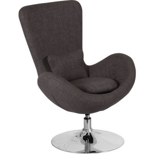Wholesale Egg Series Dark Gray Fabric Side Reception Chair