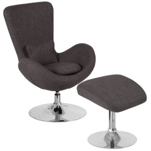 Wholesale Egg Series Dark Gray Fabric Side Reception Chair with Ottoman