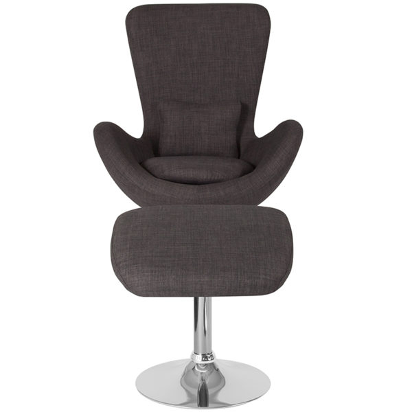 Chair and Ottoman Set Gray Fabric Reception Chair