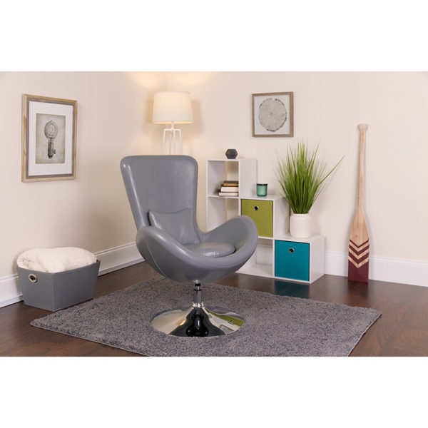 Lowest Price Egg Series Gray Leather Side Reception Chair