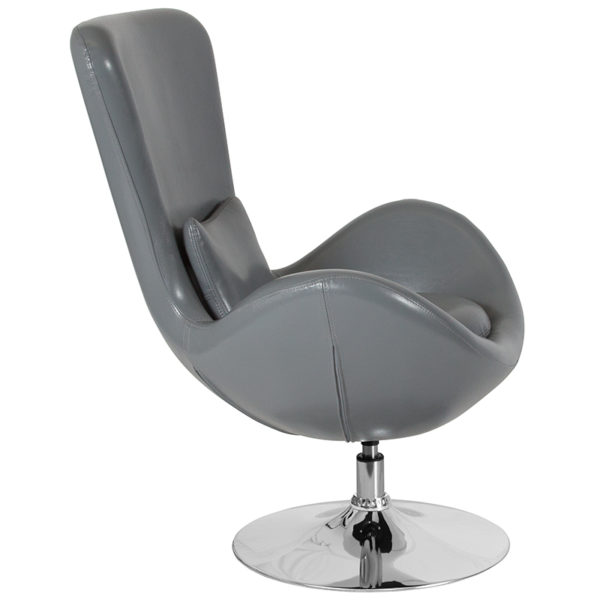 Lounge Chair Gray Leather Egg Series Chair