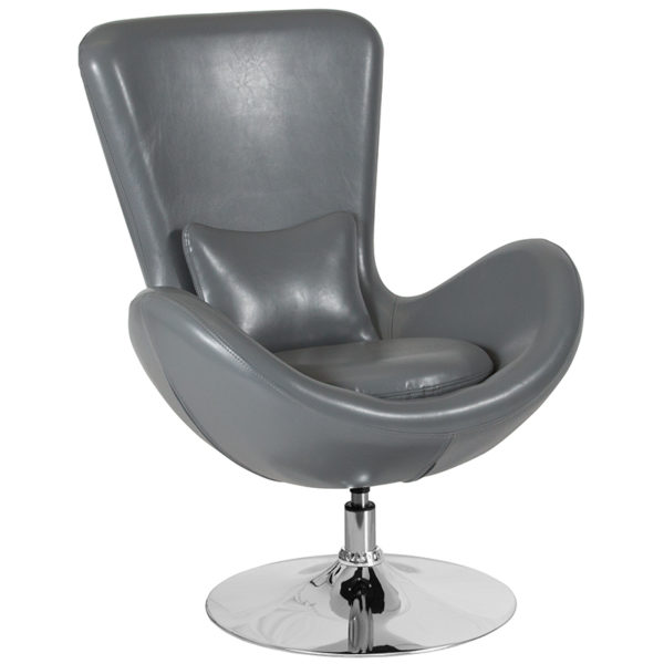 Wholesale Egg Series Gray Leather Side Reception Chair