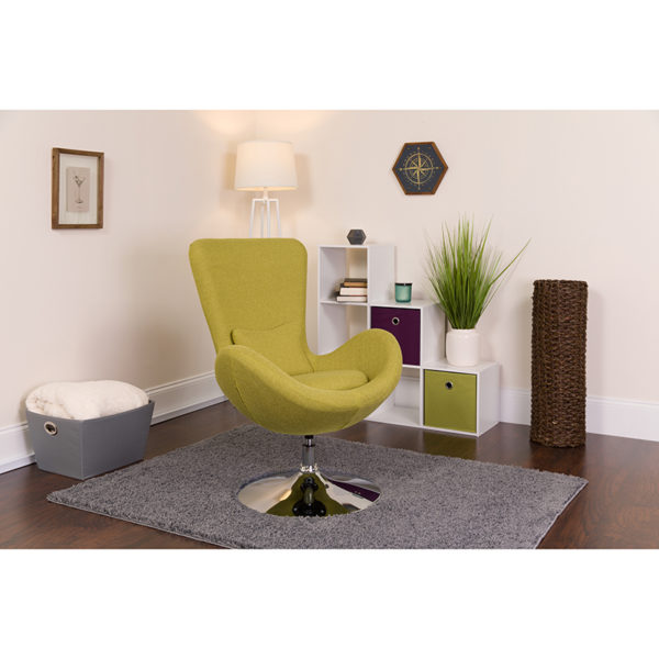 Lowest Price Egg Series Green Fabric Side Reception Chair