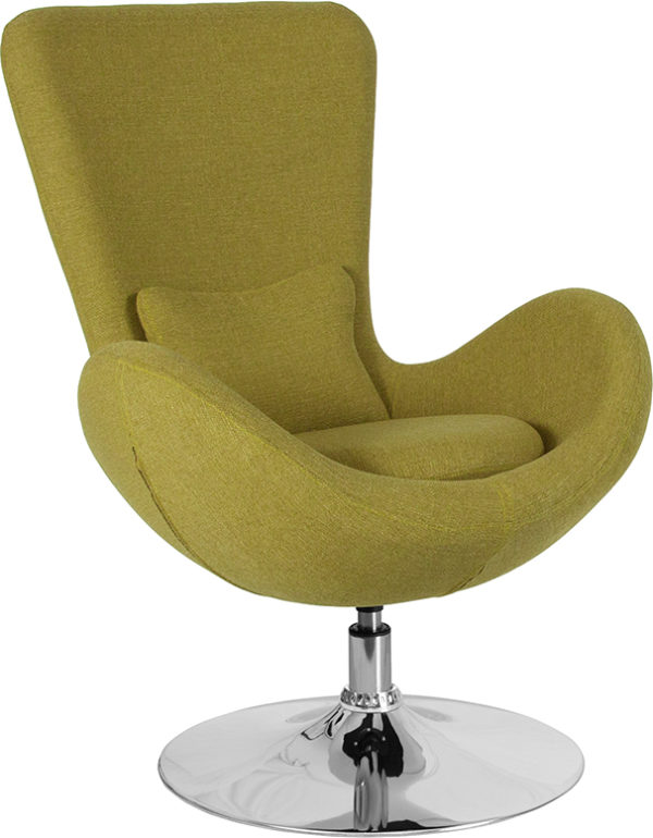 Wholesale Egg Series Green Fabric Side Reception Chair