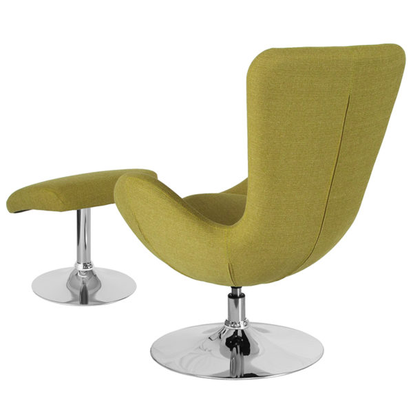 Lowest Price Egg Series Green Fabric Side Reception Chair with Ottoman
