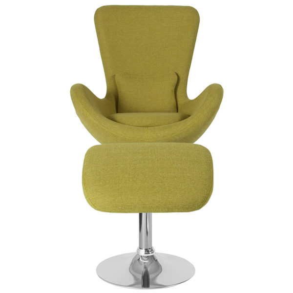 Chair and Ottoman Set Green Fabric Reception Chair