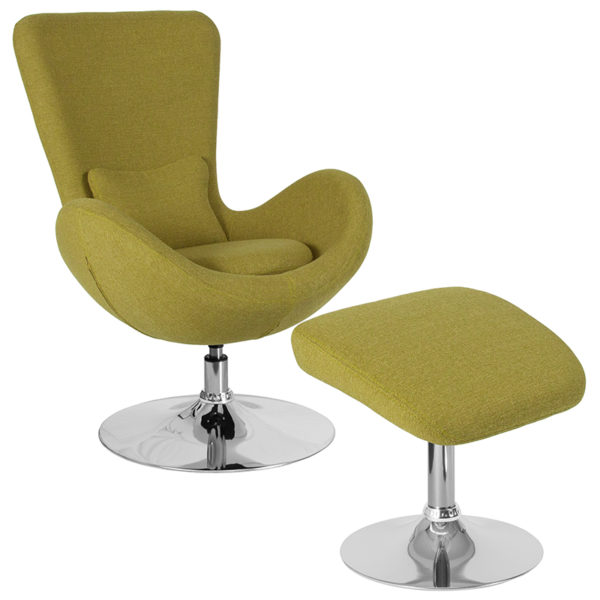Wholesale Egg Series Green Fabric Side Reception Chair with Ottoman