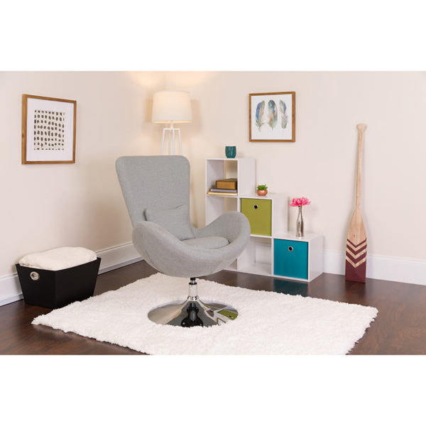 Lowest Price Egg Series Light Gray Fabric Side Reception Chair