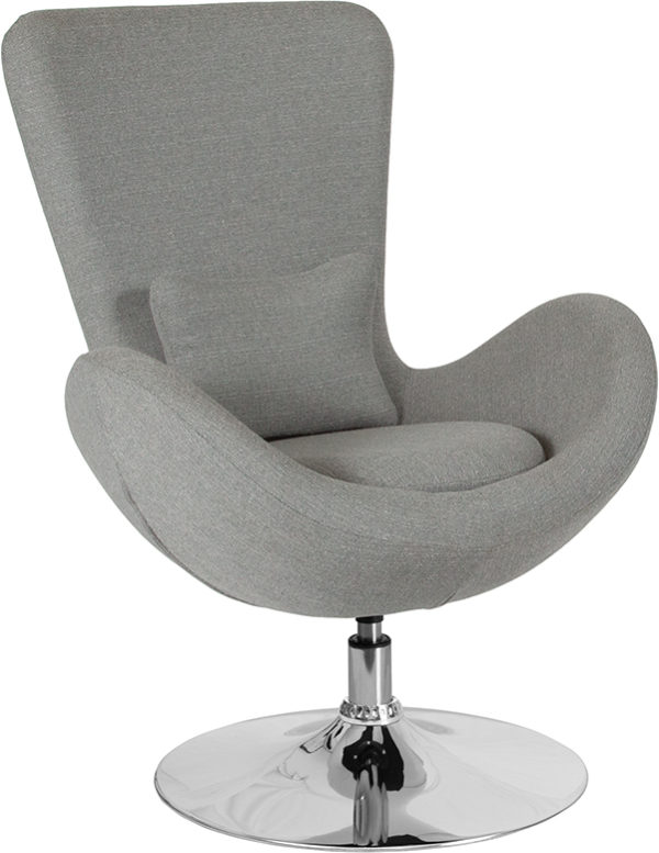 Wholesale Egg Series Light Gray Fabric Side Reception Chair
