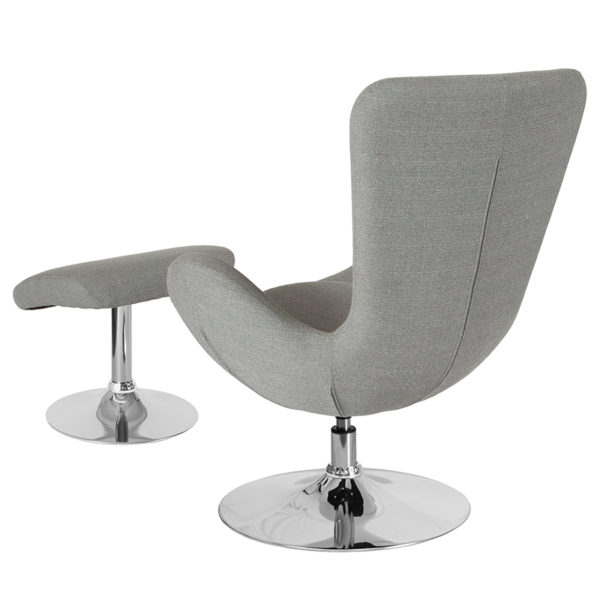 Lowest Price Egg Series Light Gray Fabric Side Reception Chair with Ottoman