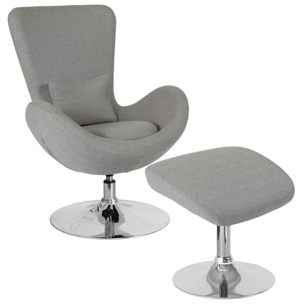 Wholesale Egg Series Light Gray Fabric Side Reception Chair with Ottoman