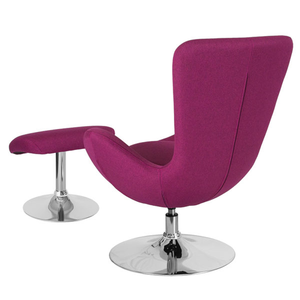 Lowest Price Egg Series Magenta Fabric Side Reception Chair with Ottoman