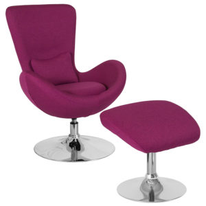 Wholesale Egg Series Magenta Fabric Side Reception Chair with Ottoman