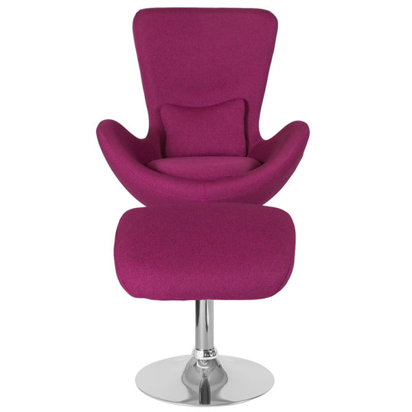 Chair and Ottoman Set Magenta Fabric Reception Chair