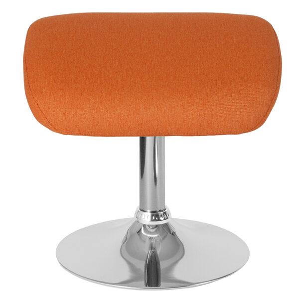Contemporary Style Orange Fabric Ottoman