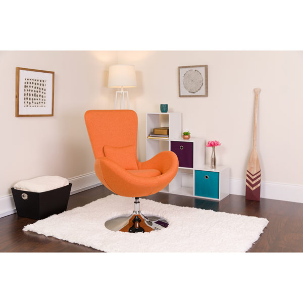 Lowest Price Egg Series Orange Fabric Side Reception Chair