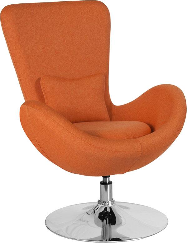 Wholesale Egg Series Orange Fabric Side Reception Chair