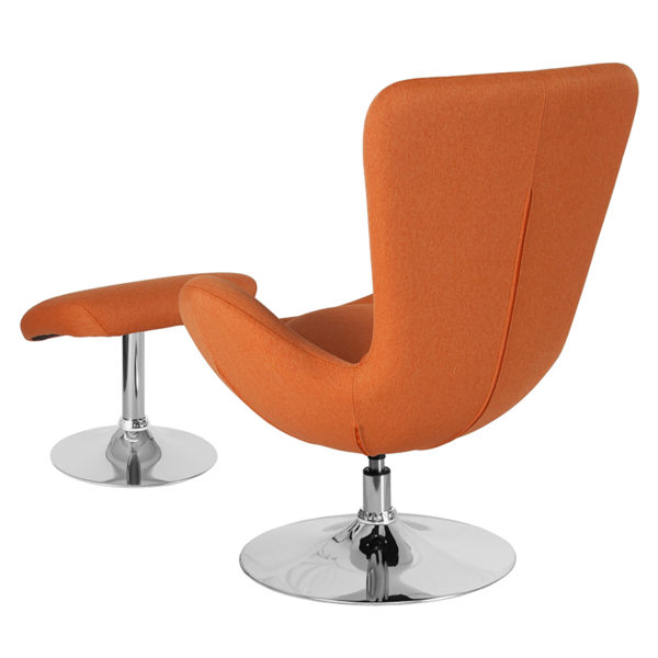 Lowest Price Egg Series Orange Fabric Side Reception Chair with Ottoman
