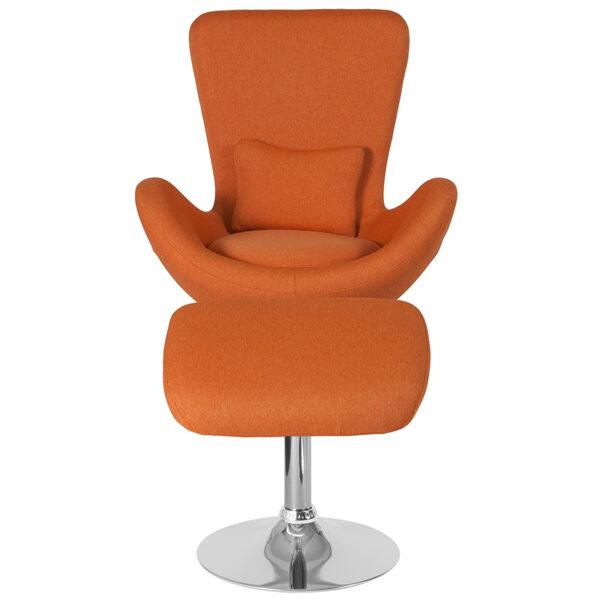 Chair and Ottoman Set Orange Fabric Reception Chair