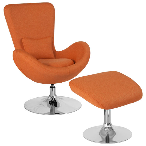 Wholesale Egg Series Orange Fabric Side Reception Chair with Ottoman