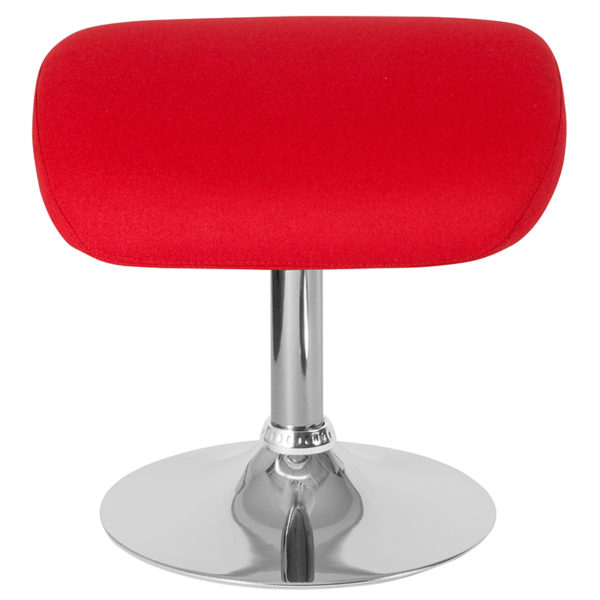 Contemporary Style Red Fabric Ottoman