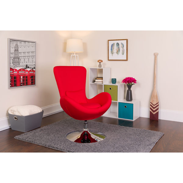 Lowest Price Egg Series Red Fabric Side Reception Chair