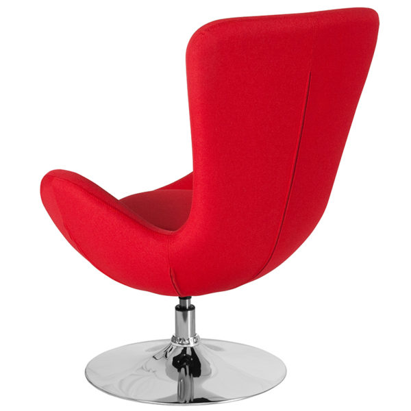 Lounge Chair Red Fabric Egg Series Chair