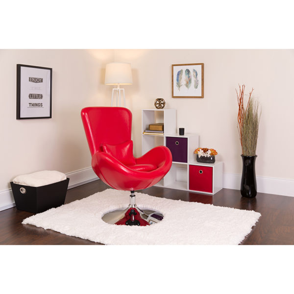 Lowest Price Egg Series Red Leather Side Reception Chair