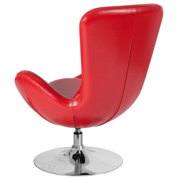 Lounge Chair Red Leather Egg Series Chair
