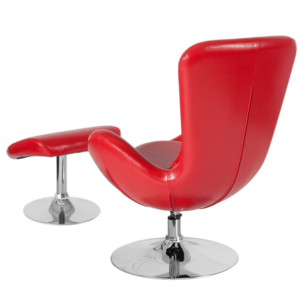 Lowest Price Egg Series Red Leather Side Reception Chair with Ottoman