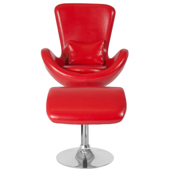 Chair and Ottoman Set Red Leather Reception Chair