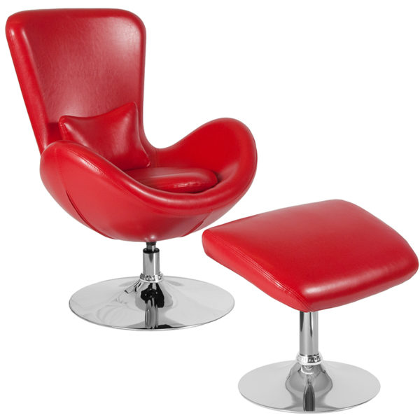Wholesale Egg Series Red Leather Side Reception Chair with Ottoman