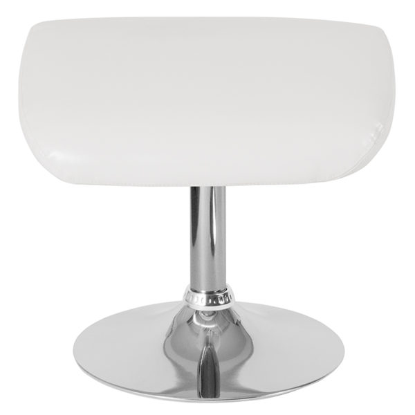 Contemporary Style White Leather Ottoman