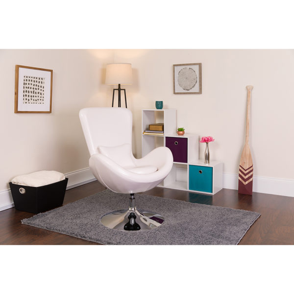Lowest Price Egg Series White Leather Side Reception Chair
