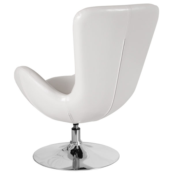 Lounge Chair White Leather Egg Series Chair