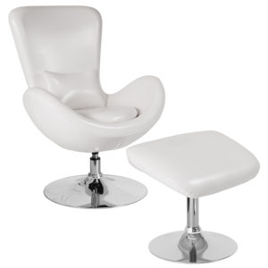 Wholesale Egg Series White Leather Side Reception Chair with Ottoman